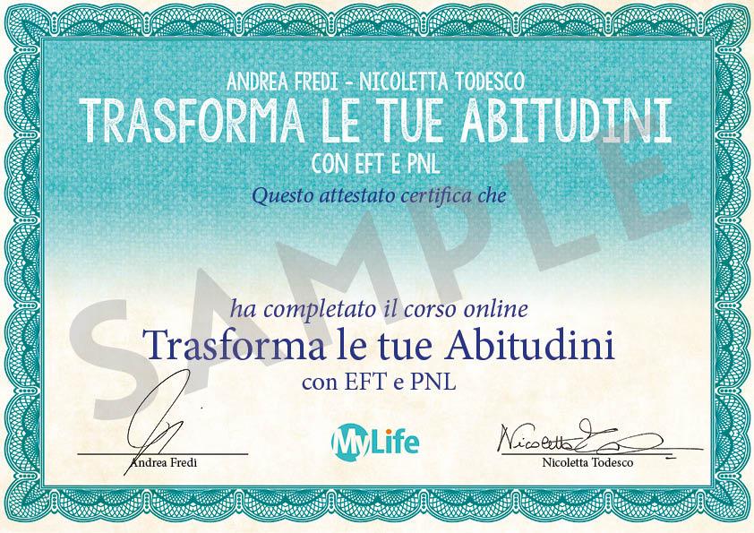 Certificato PDF - Trasforma le tue Abitudini con EFT e PNL