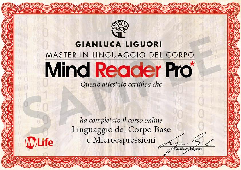 Certificato PDF - Mind Reader Pro