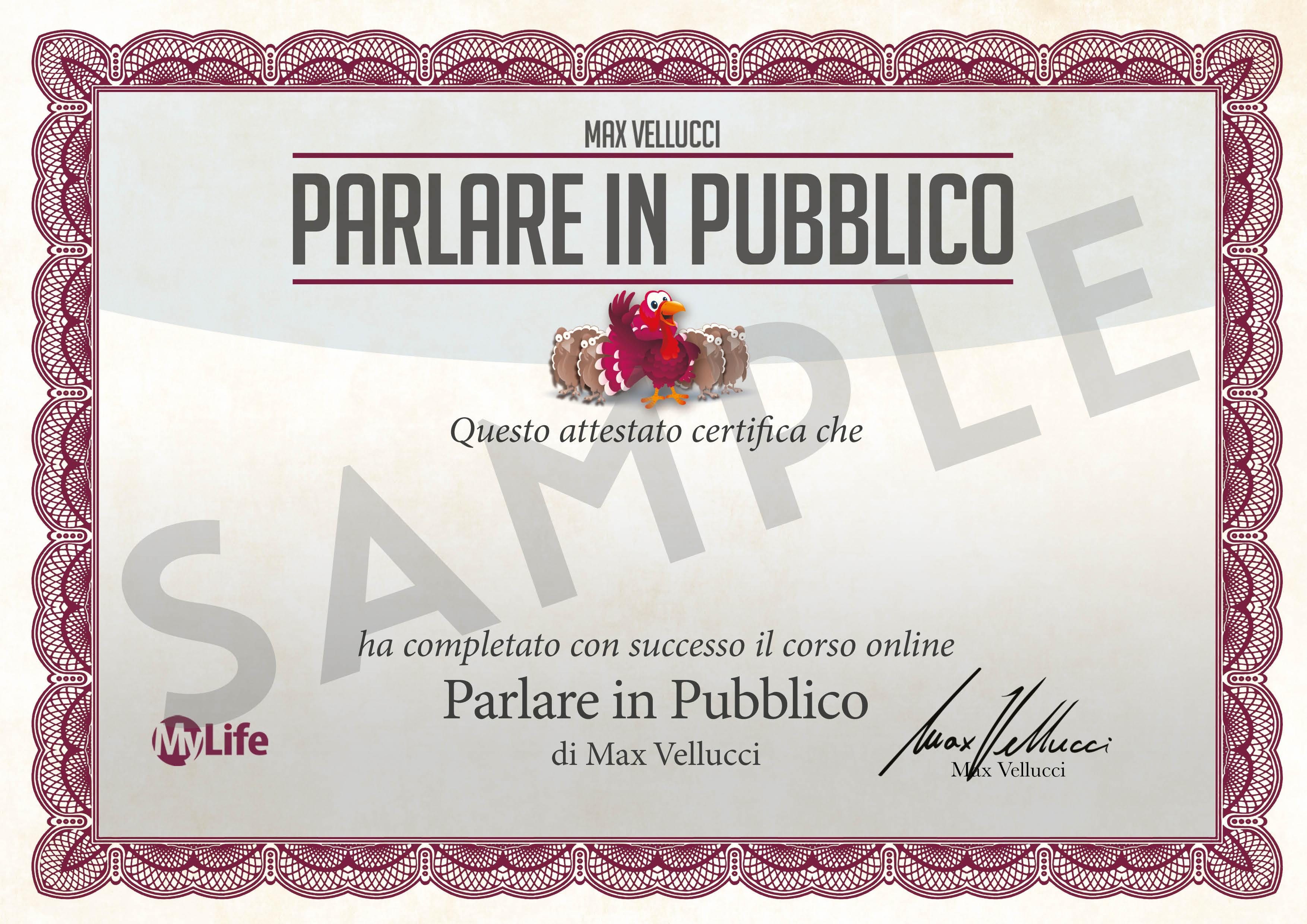 Certificato PDF - Parlare in Pubblico