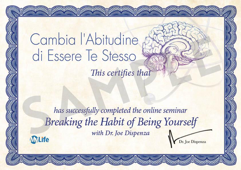 Certificato Corso Base Dispenza